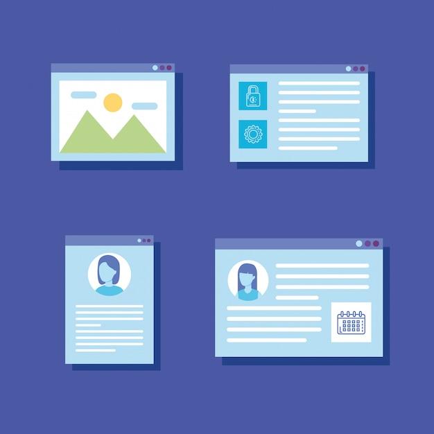 Definir ícones de modelos de páginas da web Vetor grátis