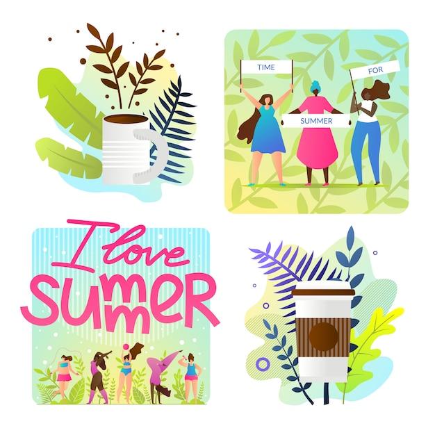 Definir ilustrações brilhantes eu amo desenhos animados de verão Vetor grátis