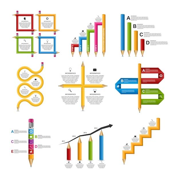 Definir infográficos para educação. Vetor Premium