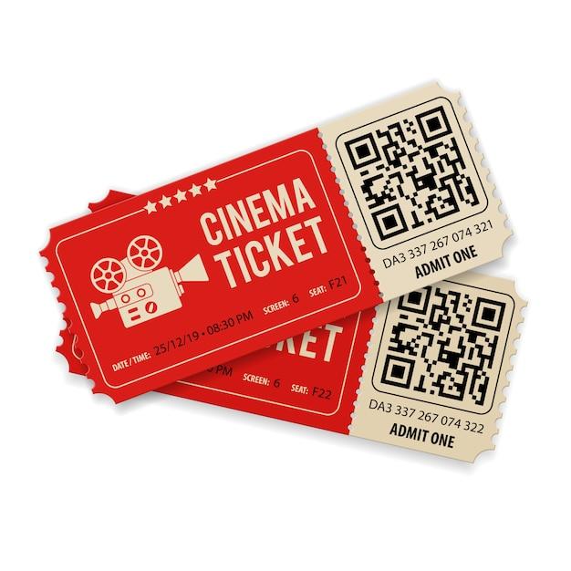 Definir ingressos para o cinema Vetor Premium