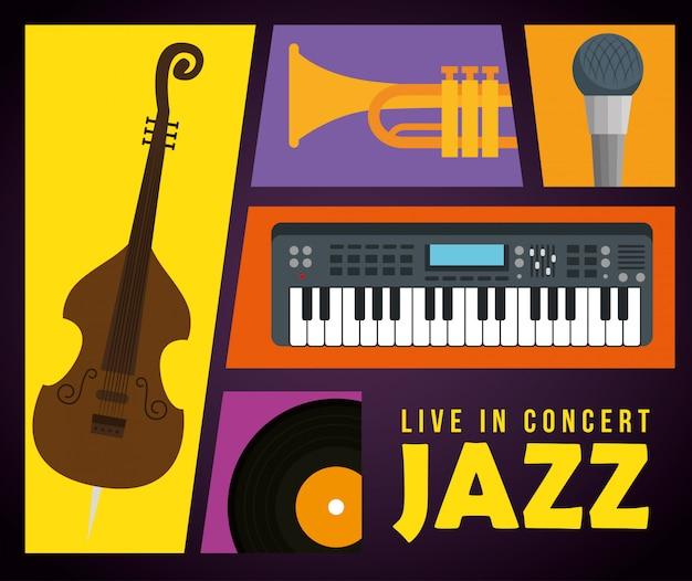 Definir instrumentos para o dia internacional do jazz Vetor grátis