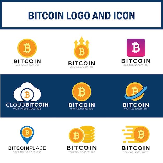 Definir logotipo bitcoin Vetor Premium