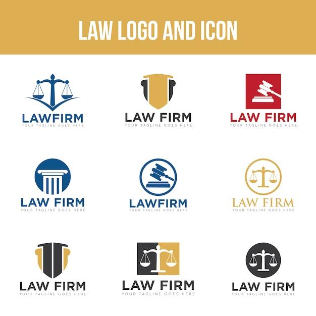 Definir logotipo de lei e modelo de design do ícone Vetor Premium
