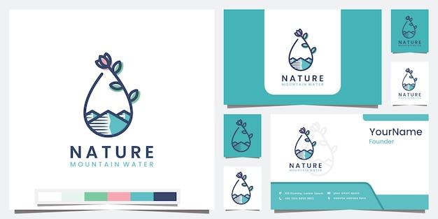 Definir logotipo natureza montanha água com logotipo de conceito de arte de linha Vetor Premium
