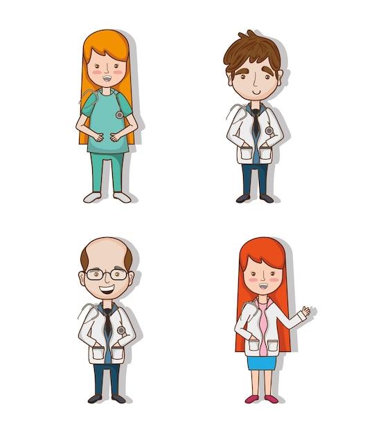 Definir médicos profissionais com uniforme e estetoscópio Vetor Premium