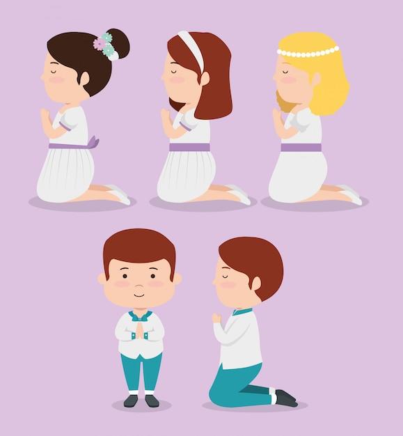 Definir meninas e meninos para a primeira comunhão da religião Vetor grátis