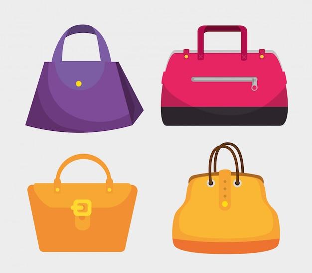 Definir moda bolsas estilo elegants Vetor Premium