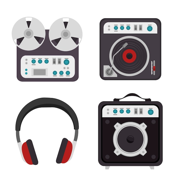 Definir o ícone isolado de dispositivos da indústria da música Vetor grátis