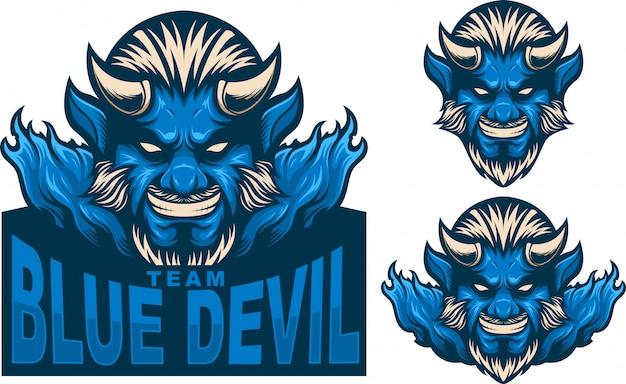 Definir o logotipo do mascote homem do diabo azul Vetor Premium