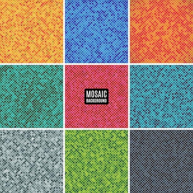 Definir o mosaico abstrato de fundo da grade de pixels padrão e quadrados de cores diferentes. ilustração conservada em estoque Vetor Premium