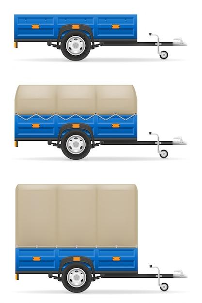 Definir o reboque do carro de ícones para o transporte Vetor Premium
