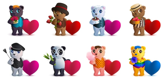 Definir o símbolo de forma de coração de urso e dia dos namorados do amor. Vetor Premium