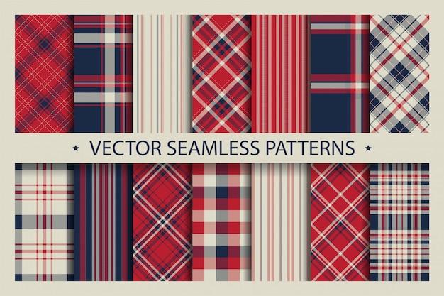 Definir padrão sem emenda xadrez. textura de tecido de padrões de tartan. Vetor Premium