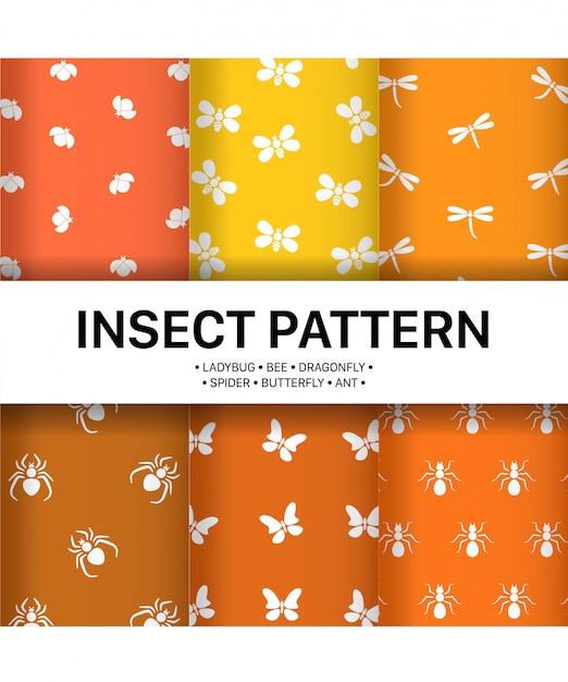 Definir padrão simples de insetos premium Vetor Premium