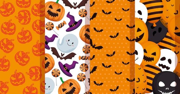 Definir padrões de decoração de halloween Vetor grátis
