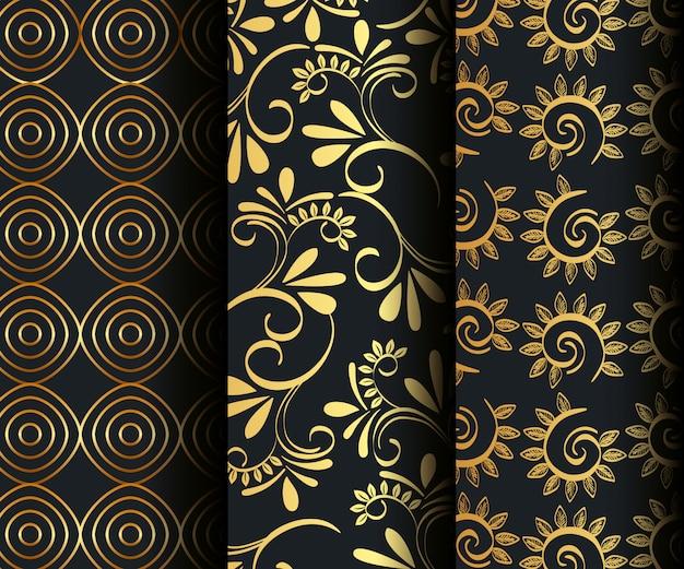 Definir padrões sem emenda dourados vitorianos e florais Vetor grátis