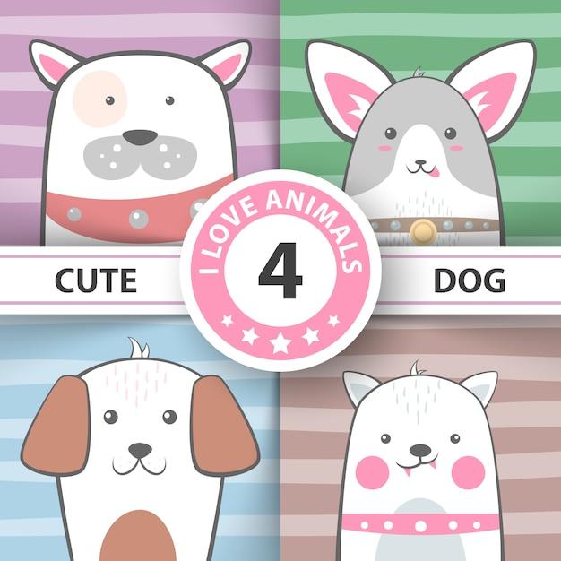 Definir personagens de desenhos animados bonitos do cão. Vetor Premium