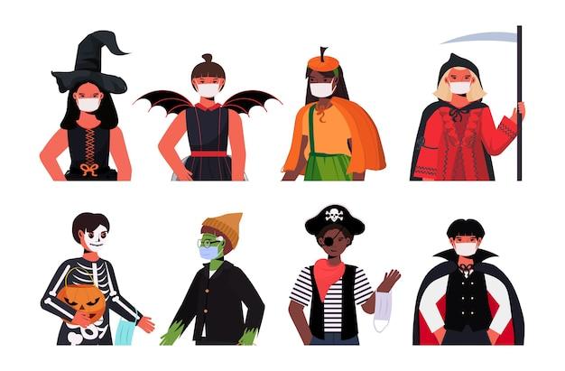 Definir pessoas com máscaras usando trajes diferentes feliz festa de halloween celebração coronavirus quarentena conceito coleção de retratos Vetor Premium