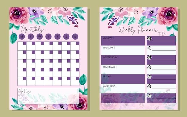 Definir planejador mensal e semanal com flor aquarela Vetor Premium