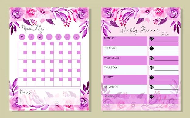 Definir planejador mensal e semanal roxo flor waterlor Vetor Premium