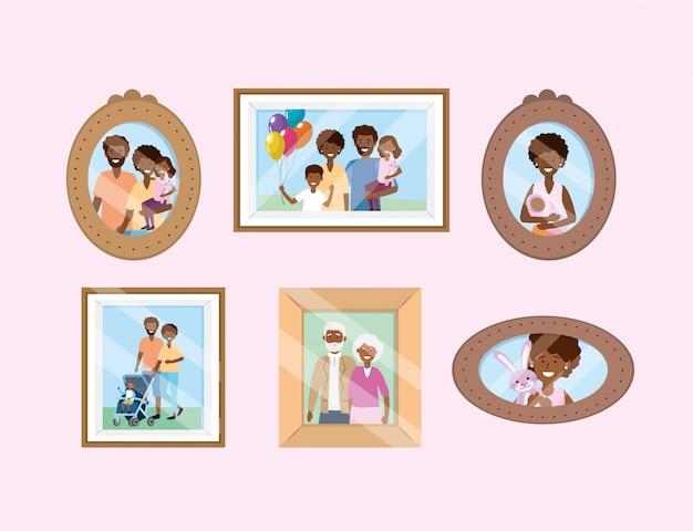 Definir portait com memórias de fotos da família Vetor grátis