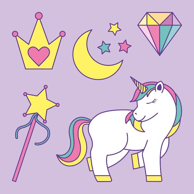 Definir princesa de fantasia com unicórnio Vetor Premium