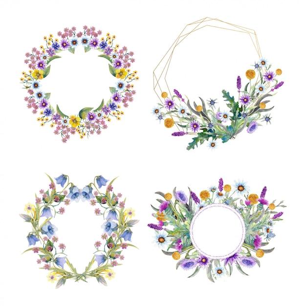 Definir quadro romântico com flores silvestres. Vetor Premium