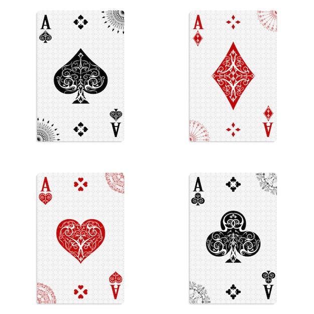Definir quatro baralhos de cartas de ases Vetor Premium