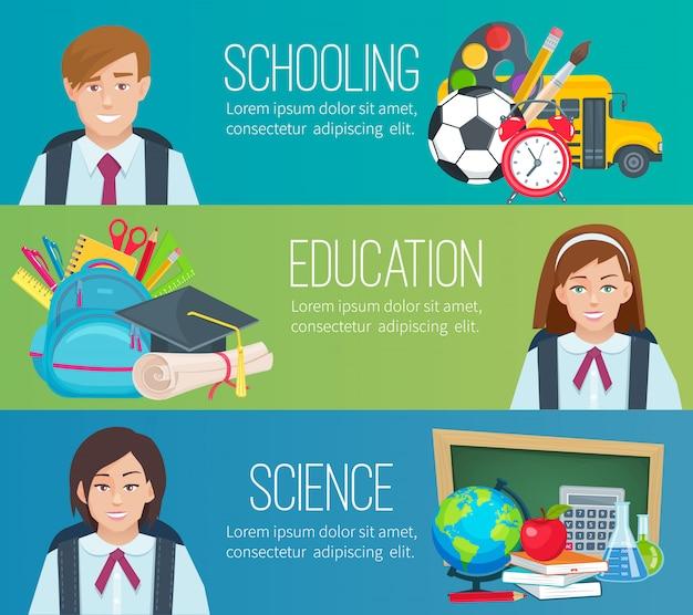 Definir s horizontais com material escolar e alunos Vetor Premium