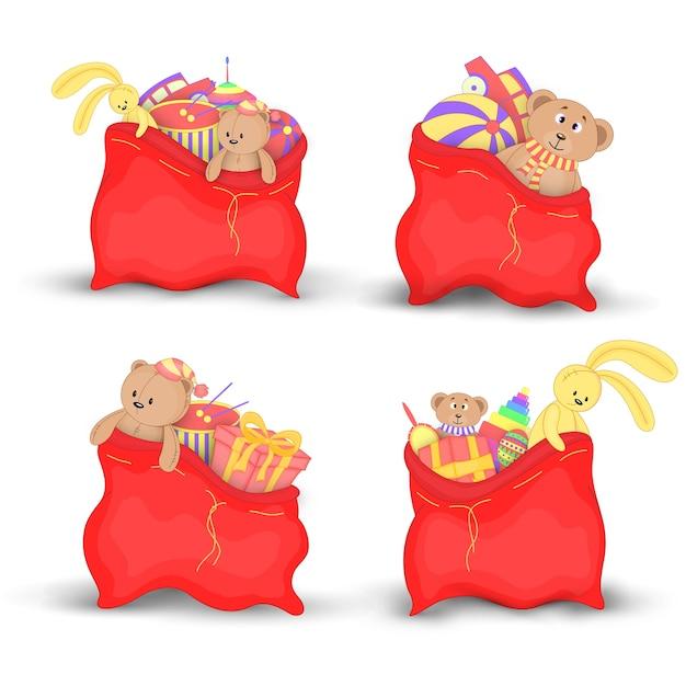 Definir sacos de natal vermelho de presentes e brinquedos Vetor Premium