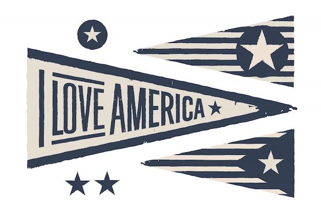 Definir símbolos eua. bandeira gráfica retro vintage, galhardete Vetor Premium