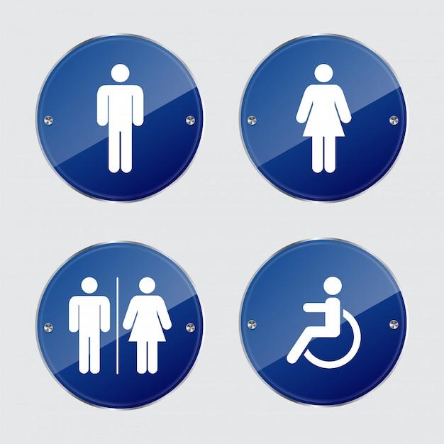 Definir sinais de banheiro. Vetor Premium