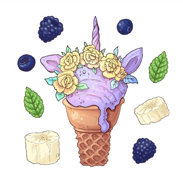 Definir sorvete de banana blackberry unicórnio Vetor Premium