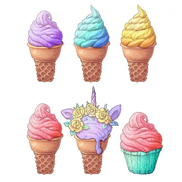 Definir sorvete Vetor Premium
