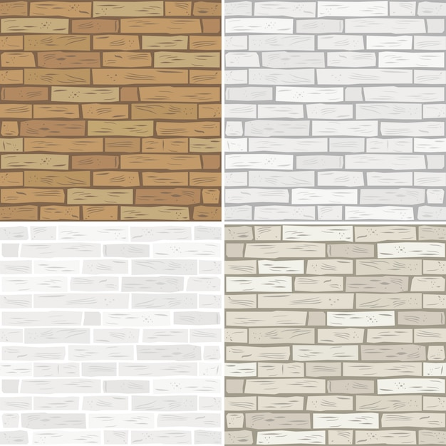 Definir texturas de tijolo Vetor Premium