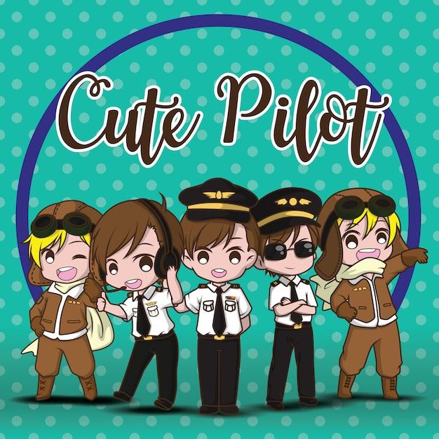 Definir vetor piloto bonito. personagens de desenhos animados. Vetor Premium