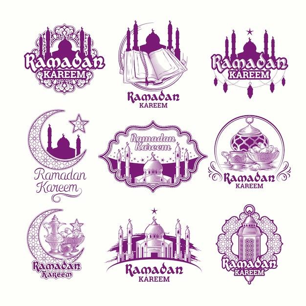 Definir vetores ilustrações roxas, assinar ramadan kareem com lanterna, torres da mesquita, crescente Vetor grátis