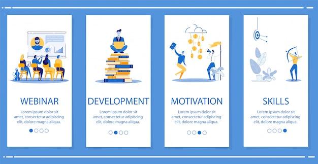 Definir webinar, desenvolvimento, motivação, competências. Vetor Premium