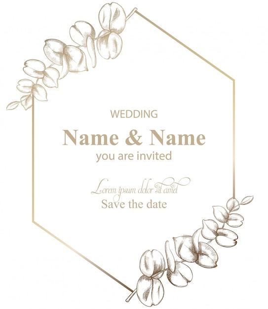 Deixa a arte de linha de cartão de decoração. convite de casamento estilo retro vintage ou saudações Vetor Premium