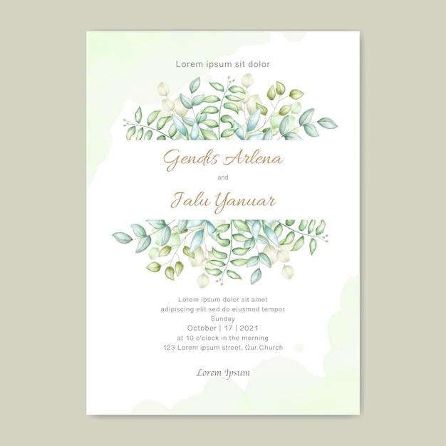 Deixa o convite de casamento em aquarela Vetor Premium