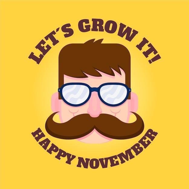 Deixe crescer feliz movember Vetor grátis