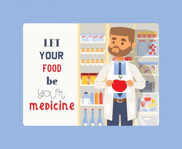 Deixe sua comida ser seu remédio. homem segurando a foto da apple. farmacêutico profissional médico de uniforme. Vetor Premium