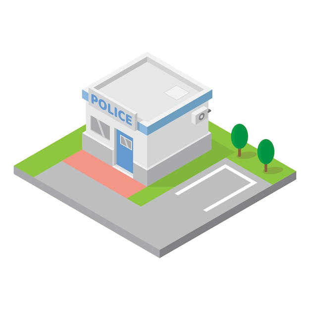 Delegacia de polícia edifício isométrico vetor para elemento de mapa 3d Vetor Premium
