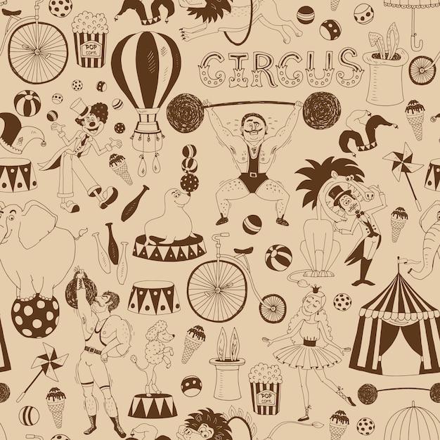 Delicado padrão de fundo de circo retrô sem costura para convites e papel de embrulho Vetor grátis