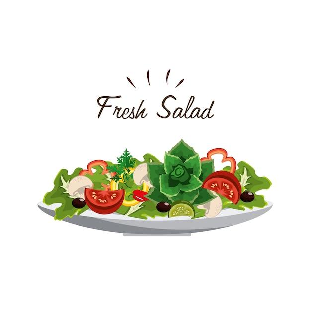 Deliciosa salada de legumes fresca Vetor Premium