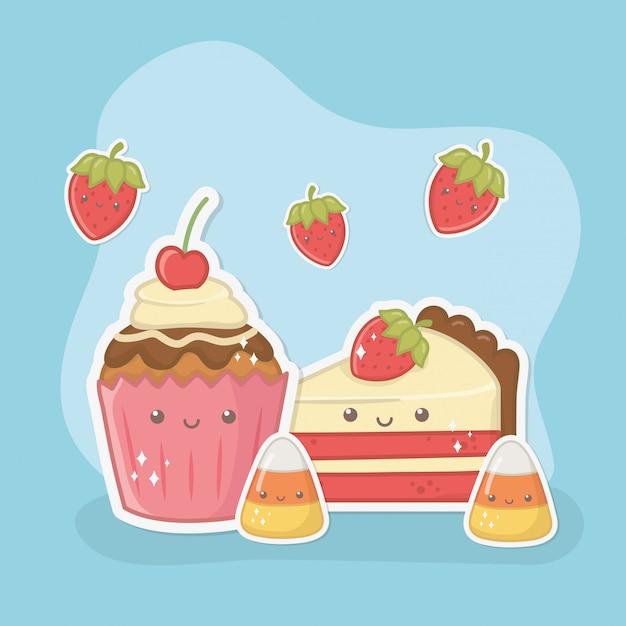 Delicioso e doce cupcake e produtos kawaii caracteres Vetor grátis