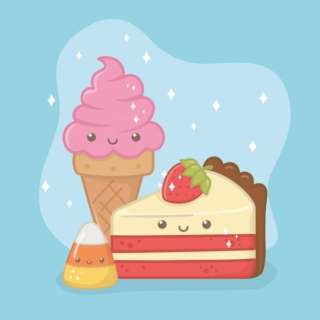Delicioso e doce sorvete e produtos kawaii caracteres Vetor grátis