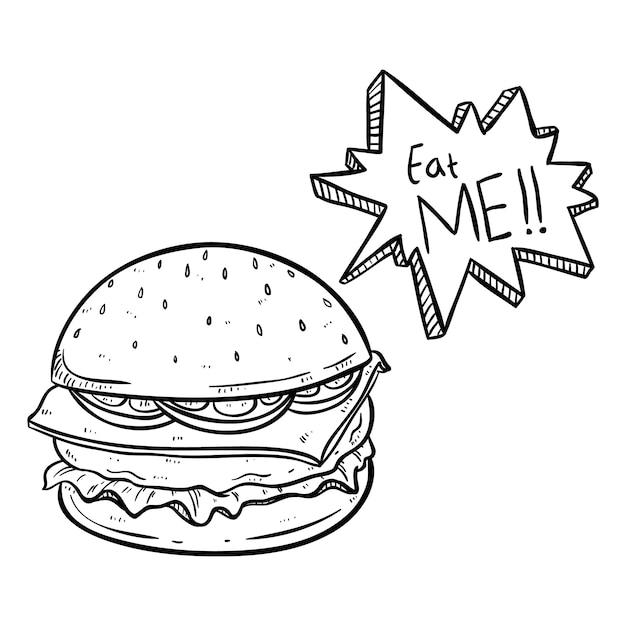 Delicioso hambúrguer com comer-me texto e usando o estilo de doodle desenhado mão preto e branco Vetor Premium