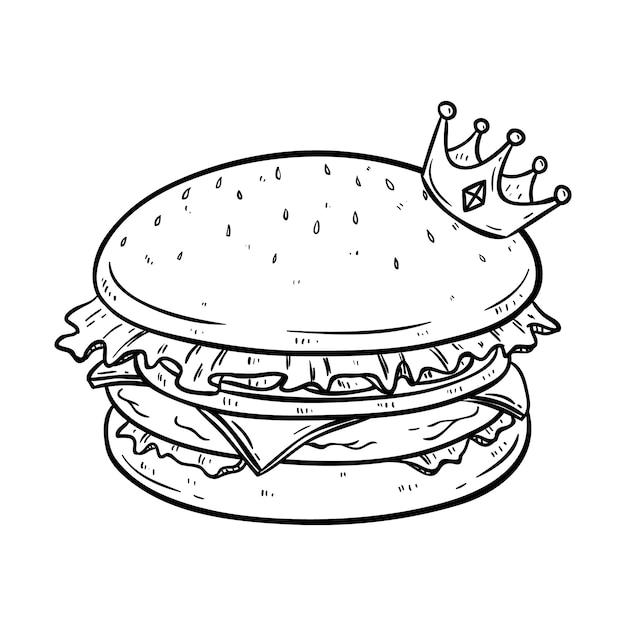 Delicioso hambúrguer com coroa e usando o estilo de doodle desenhado mão preto e branco Vetor Premium