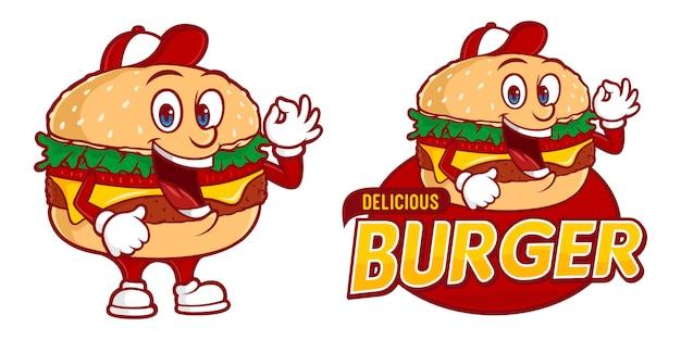 Delicioso hambúrguer, modelo de logotipo fast foods com personagem engraçada Vetor Premium